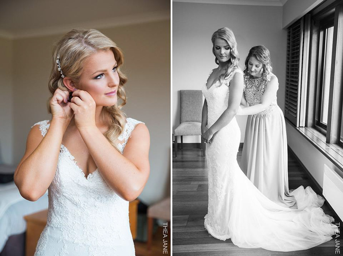 real bride getting ready photo tamar pronovias wedding dress