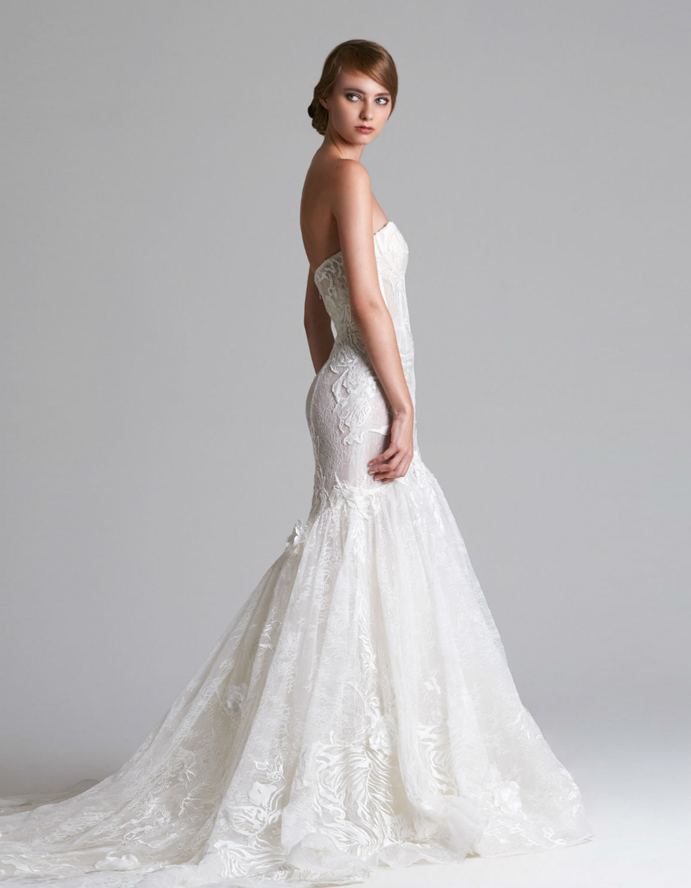 Corset fishtail wedding dress | Adeline by Halen Contstance
