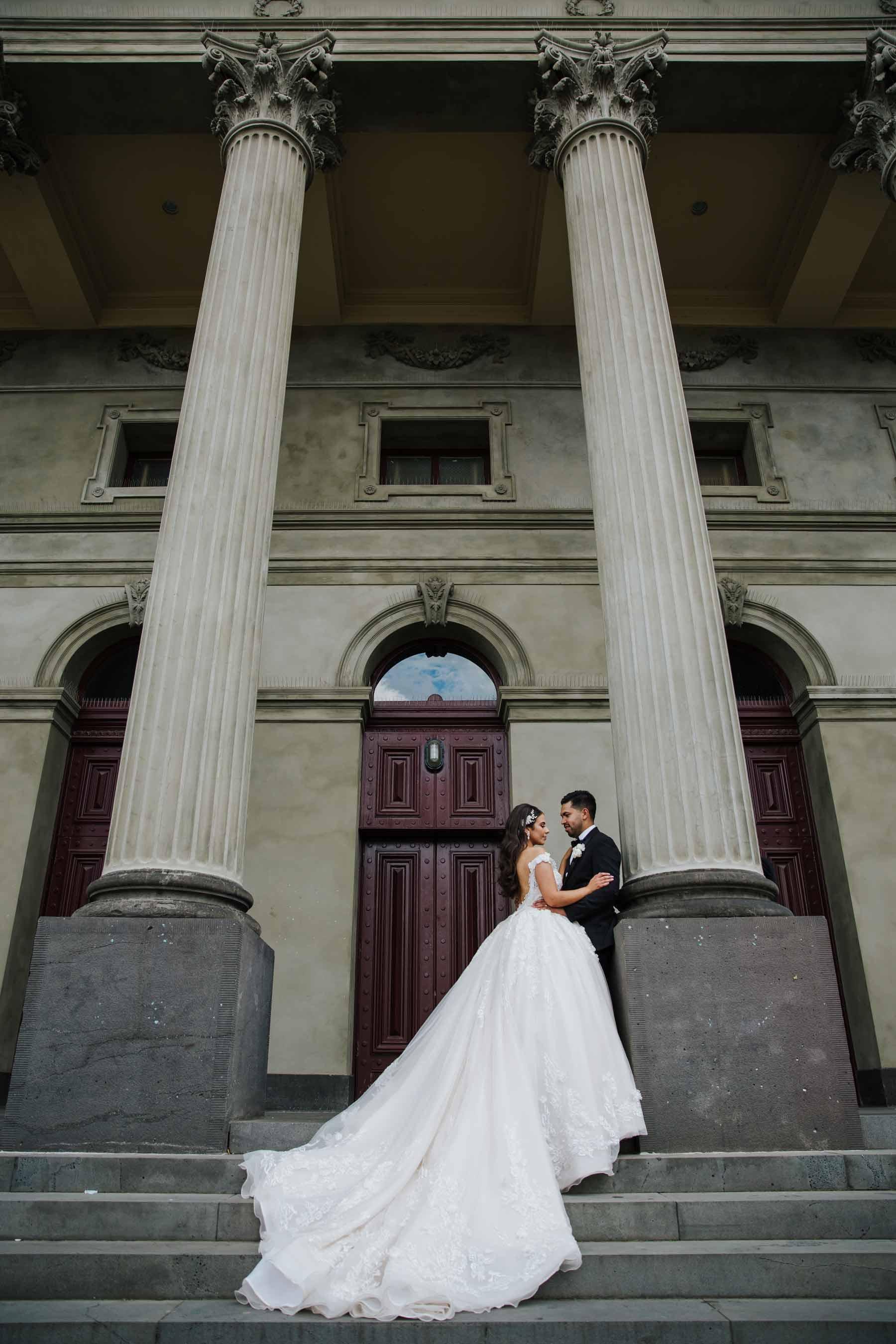 Yola + Alexander RC Real Bride Wearing Demetrios Platinum ballgown in 'ANASTASIA'