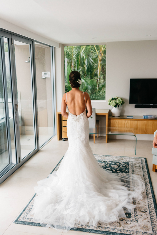 Kristen + Callan | Pronovias Wedding Dress in Mariana | Low back Wedding Dress | Noosa Queensland Wedding | Real Wedding | Real Bride